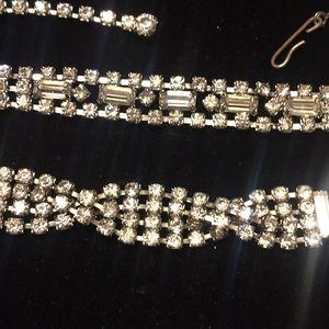 Vintage rhinestone necklace and bracelet